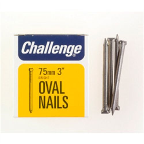 box Pack 75mm Challenge Oval Wire Nails Bright Steel
