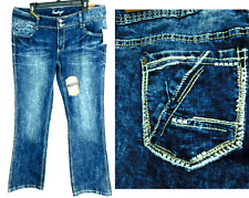Amethyst jeans blue washed low rise plus size boot cut jeans 14