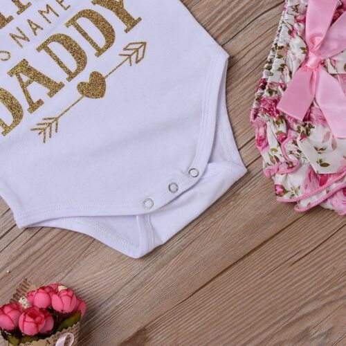 4PCS Newborn Baby Girl Daddy/'s Princess Top Romper Short Pant Skirt Outfits Set