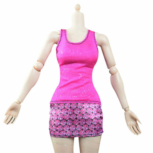 1//6 Scale female clothing set Women Colorful Mesh translucent Dress Miniskirt