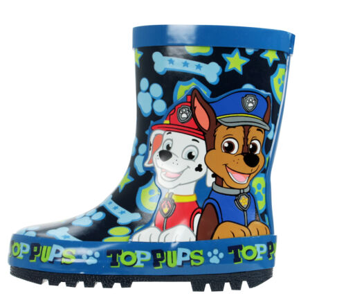 Paw Patrol Top Pups Boys Blue Wellies Wellington Rubber Boots UK Size Child 5-10