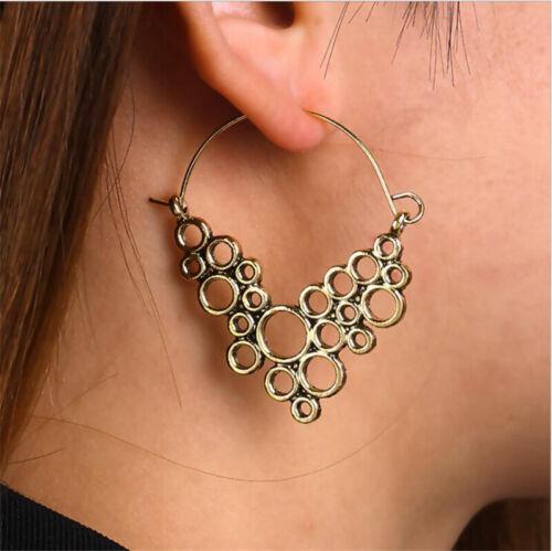 Women Bohemian Vintage Carved Ethnic Tribal Gypsy Hook Dangle Earrings Jewelry