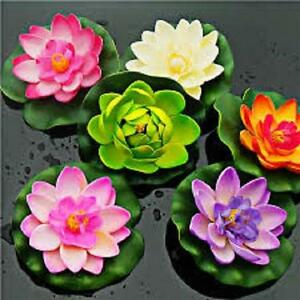 Floating Water Lily Artificial Lotus Flower Green Lily Pad Pond