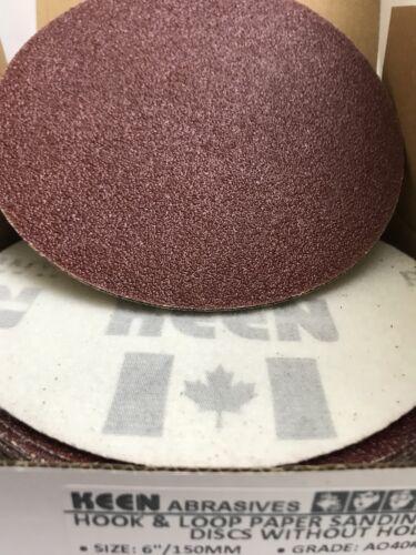 """Box of 50-40 Grit 6/"""" HOOK /& LOOP dry SANDPAPER KEEN Abrasives #33061"""
