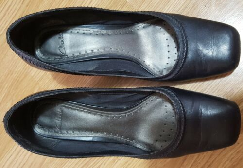 Heel Uk Chunky Shoes Leather Block Clarks Narrative 5 5 Court Ladies Black fwqXn0z4