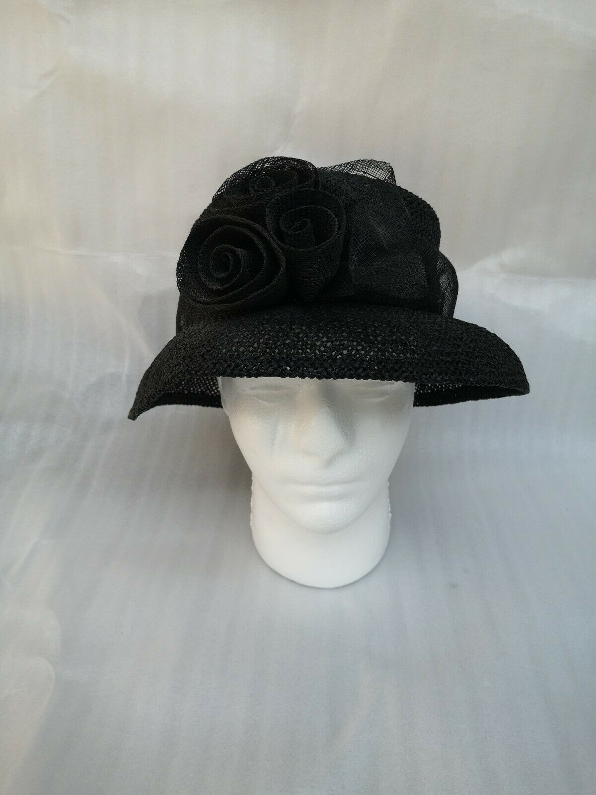 Black ACCESSORIZE 40s INSPIRED STRAW BOWED HAT Amateur Dramatics Theatre Races