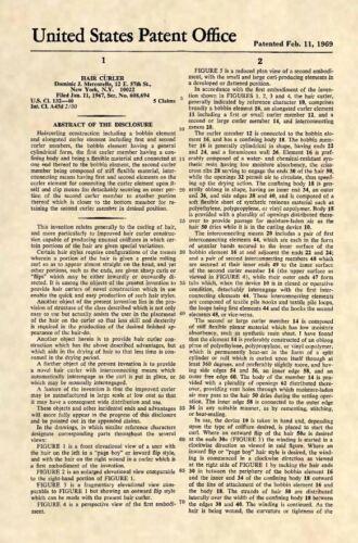 Oficial Rizador De Cabello patente estadounidense Art Print-Vintage Salon Estilista Rulos 477
