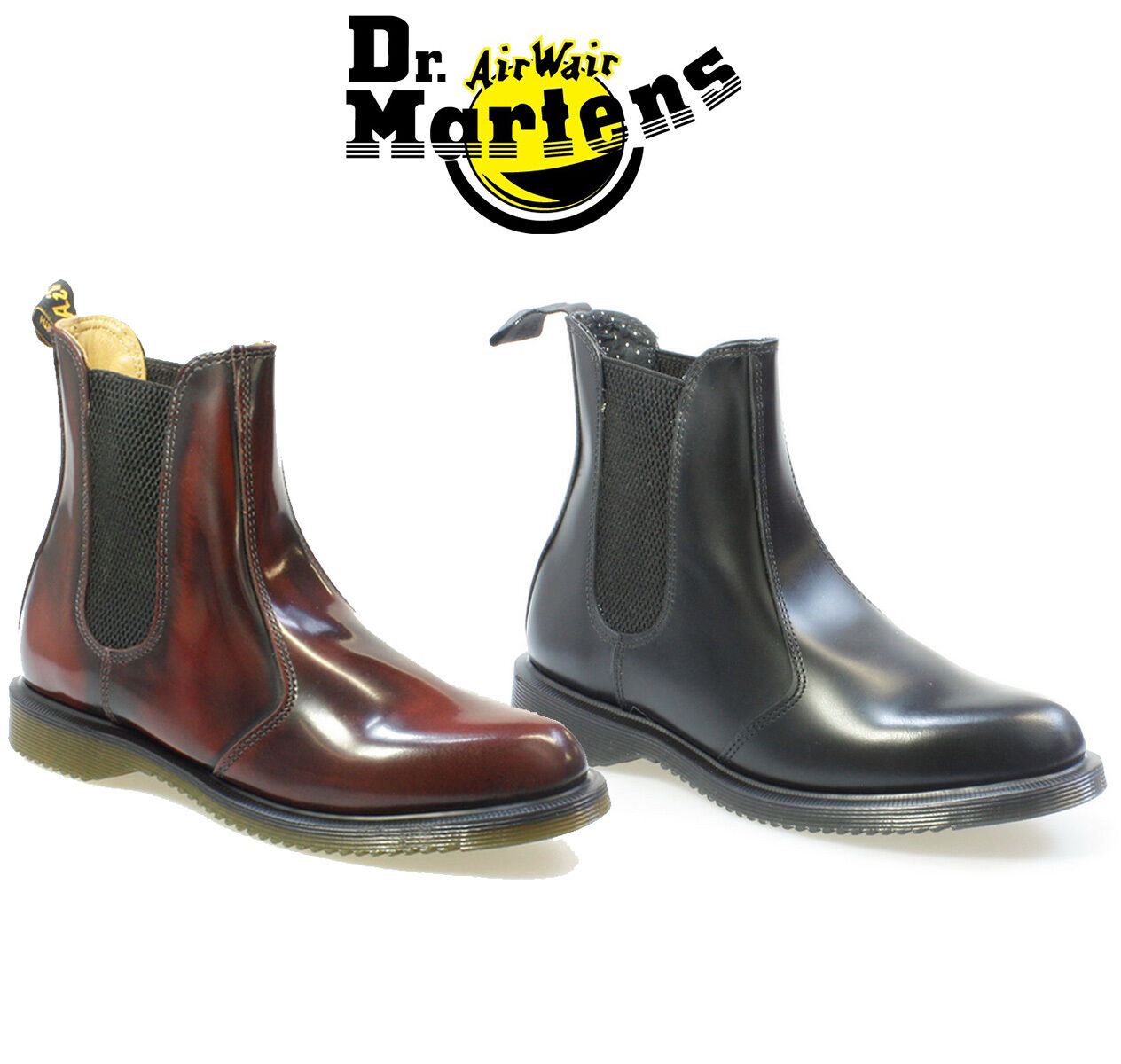 Dr. Martens Womens Flora Chelsea Boots, Black or Burgundy Red, Leather shoes