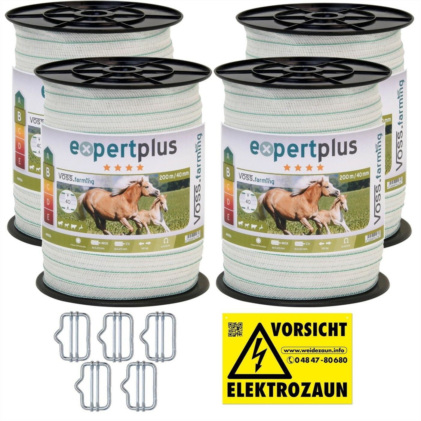 800m 40mm Weidezaun Band 6xNIRO 1 KUPFER Leiter GRATIS Elektro Zaun Pferde Pony
