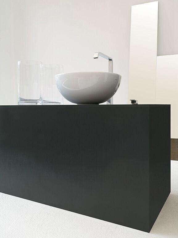 Lavandino Lavabo Appoggio Design Moderno La Ciotola in Ceramica blanc