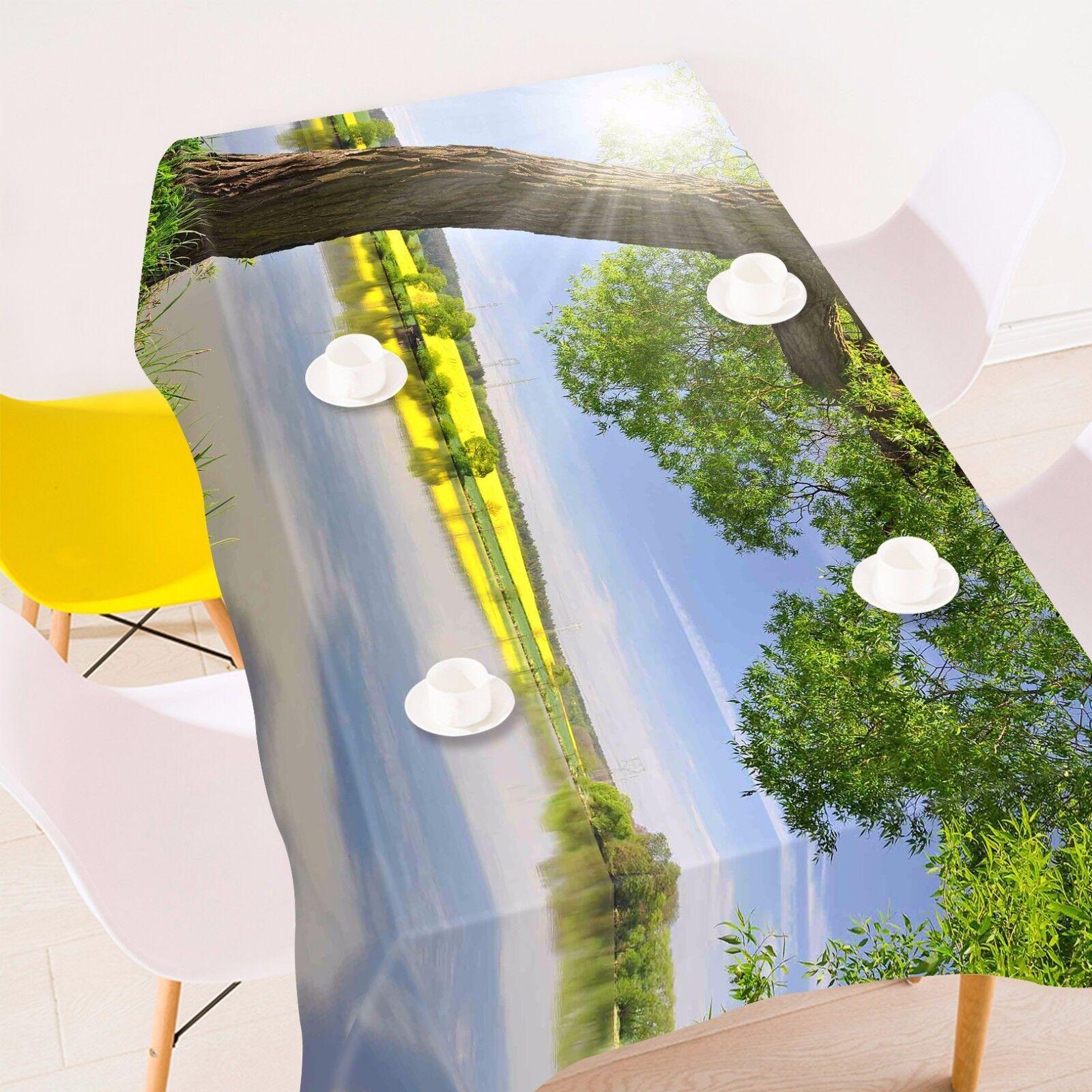 3D Arbre Soleil 5 Nappe Table Cover Cloth fête d'anniversaire AJ papier peint Royaume-Uni Citron