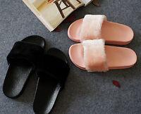 US Size 6~9 ❃Fur Slides Faux Fur Flip Flop Womens Slippers Flat Sandals Slides