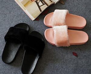 Womens Soft Fur Slide Flip Flop Slippers Flat Open Toe