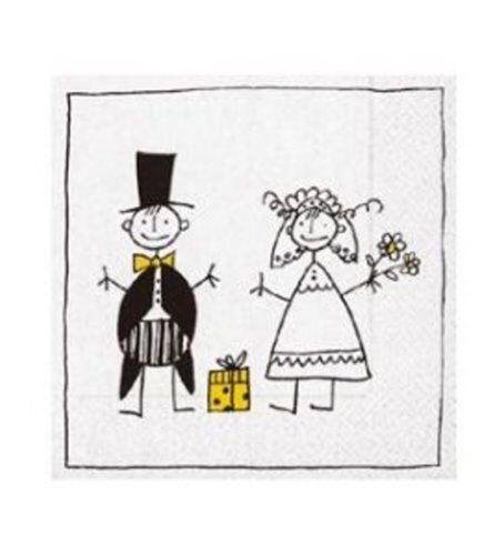 Servietten 33x33 cm Just married Hochzeit Polterabend 20er Pack