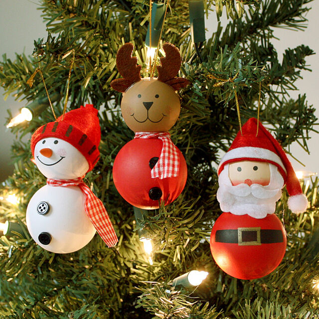 3 pc character christmas hanging tree decorations santa snowman reindeer baubles