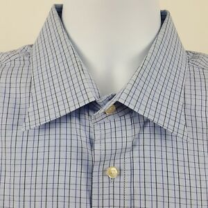 Peter-Millar-Blue-Check-Men-039-s-L-S-Casual-Button-Shirt-Sz-Large-L-17-5