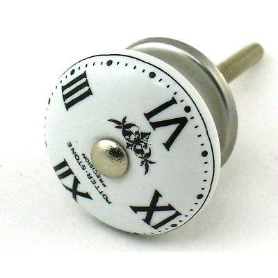 Clock Face Ceramic Knobs, Cabinet Drawer Pulls or Furniture Handles #K37~ Set/4