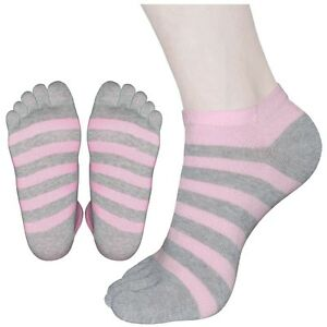 """5 Pairs Lot Womens Ankle Toe Socks L10-01 /""""Skin contact surface is 100/% cotton/"""""""
