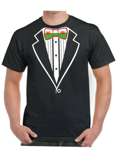 Tuxedo T Shirt Welsh Flag Bow Tie Wales Dragon Football Rugby Fancy Dress