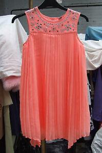 Detalles De Vestido De Fiesta Bnwot Hermoso Diamante Tachonado Color Coral Plisada De Niñas De 9 Años Ver Título Original