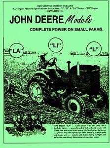 john deere model l la li lu y 62 shop service manual ebay rh ebay com john deere tractor manual download john deere tractor manuals free