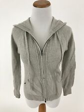 CLUB MONACO gray 100% CASHMERE full zip hooded sweater jacket S/M