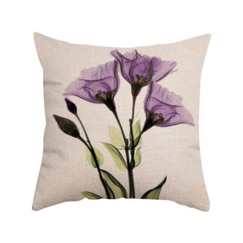 "18/""X18/"" Flower Print Cushion Cover Cotton Linen Pillow Case Home Sofa Car Decor"