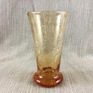 Art-Deco-Crackle-Amber-Glass-Celery-Vase-Pot-Vintage-1930s
