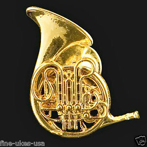 French Horn Scaled Replica Jewelry Pin 24 Karat Gold Plated