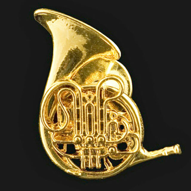 Exceptional French Horn Scaled Replica Jewelry Pin 24 Karat Gold Plated Amazing Detail