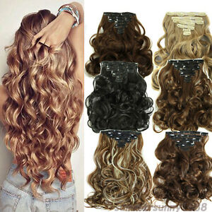THICK-145-200g-Clip-In-as-Remy-Human-Hair-Extensions-Double-Weft-Full-Head-HG25