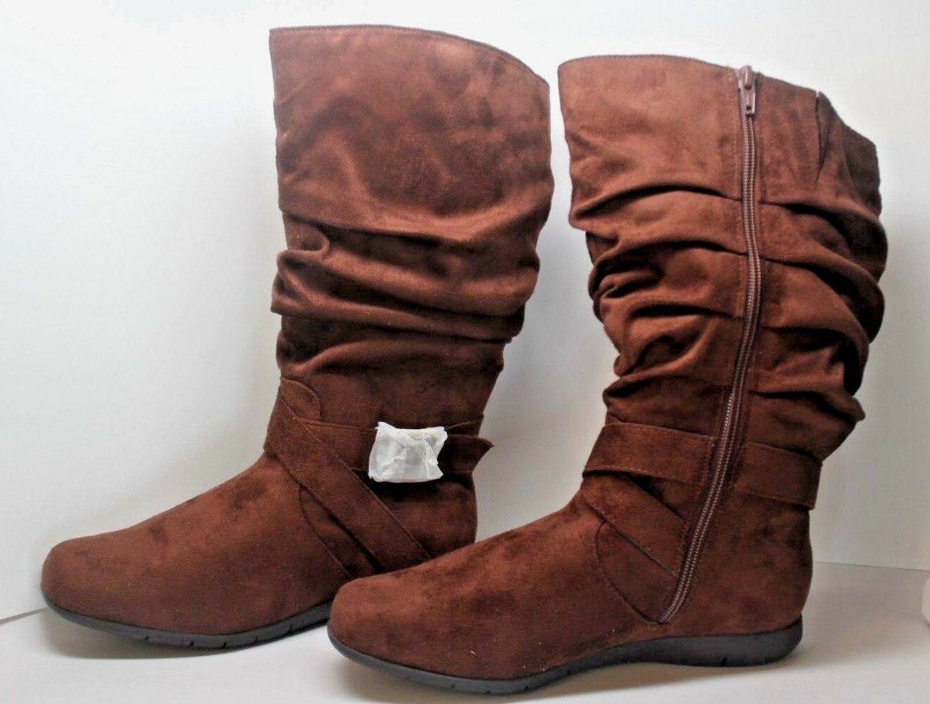 Comfortview faux-Suede mid-calf zip Slouchy boots Women's Size 7W in Brown