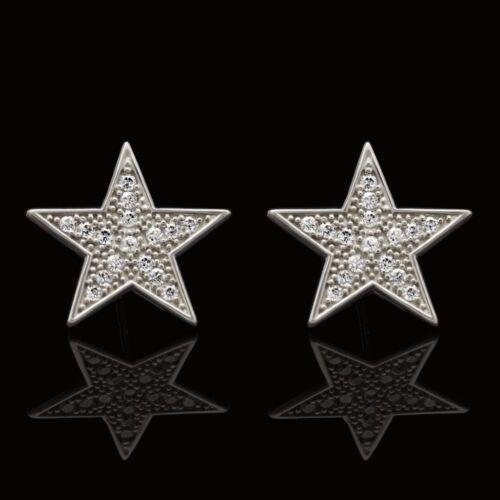 14K White Gold 0.65Ct Pave Set Simulated Diamond Fancy Star Shape Stud Earrings