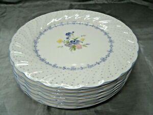 """Vtg Nikko BLUE PEONY Set of 5-7 7/8"""" Salad Plates Floral Dots Disc'd Japan EC"""