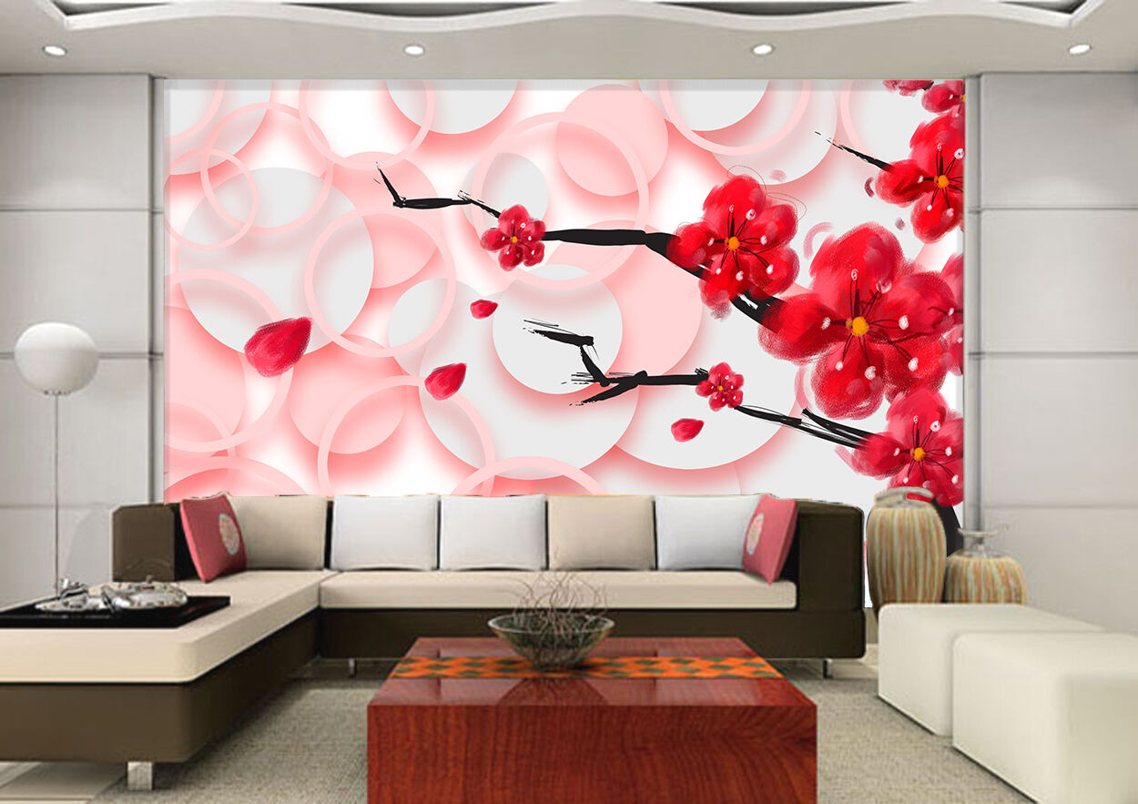 3D Pink round, flowers 657 Wall Paper Print Wall Decal Deco Indoor Wall Murals