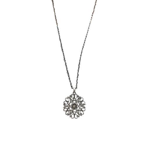 Am /_ Damen Vintage Hohl Blume Anhänger Strass Eingelegt Lange Halskette