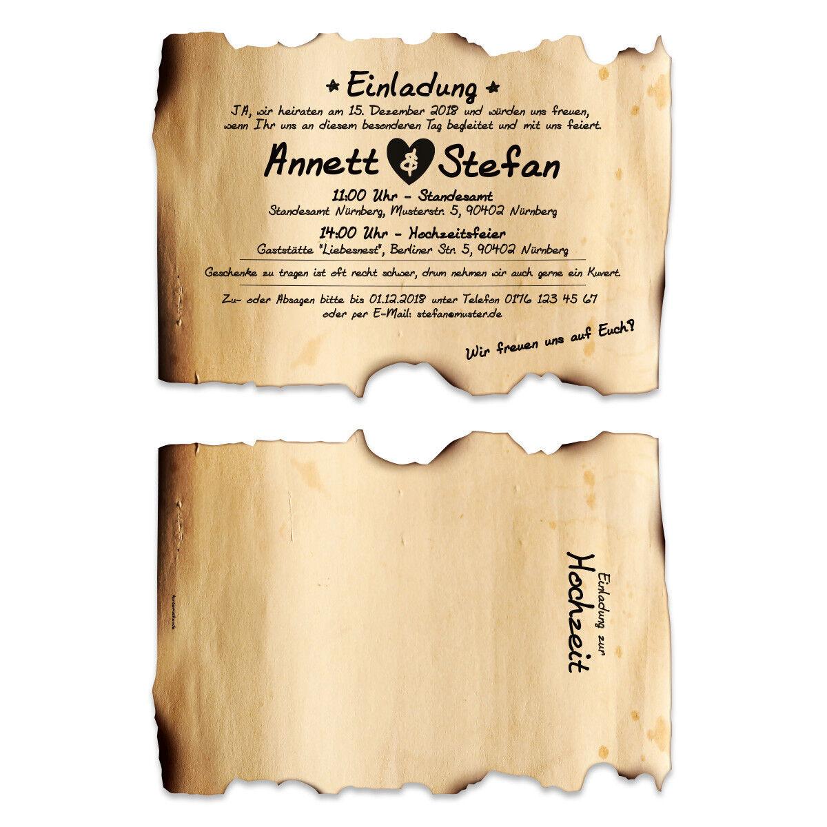 Lasergeschnittene Hochzeitseinladungen Einladungskarten - Vintage Flaschenpost   | Der Schatz des Kindes, unser Glück  | Hochwertige Produkte