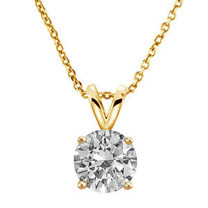 a96725d81 5,6,7 MM Yellow Gold Sterling Silver Round Cut CZ Solitaire Pendant ...