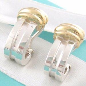 e499cfeca Tiffany & Co Silver 18K Gold Atlas Hoop Clip On Earrings Box ...