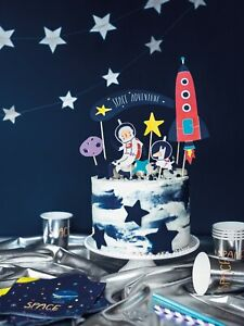 Excellent Space Party Themed Birthday Cake Topper Rockets Star Planets Funny Birthday Cards Online Unhofree Goldxyz