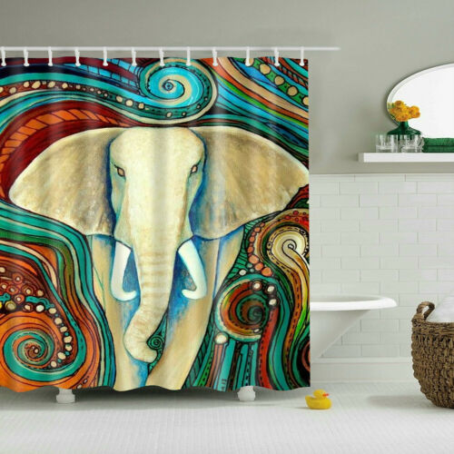 Waterproof Various Bohemian Elephant Pattern /& 12 Hooks Bathroom Shower Curtain