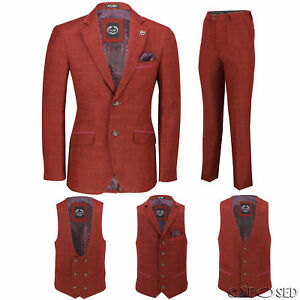 Mens Maroon Tweed Check 3 Piece Suit Sold Separately - Blazer Trouser Waistcoat