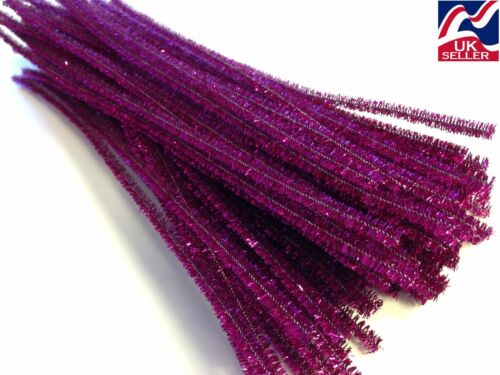 """by 6mm wide 10-100x PURPLE GLITTER chenille craft stems pipe cleaners 30cm 12/"""""""