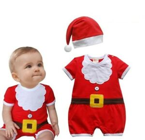 Baby Boy Girl First Christmas Summer Party Santa Costume Outfit