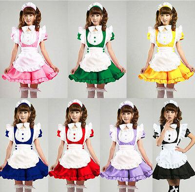 Adult Japanese Sweet Maid Dress Cosplay Maid Costume Sexy Lolita Apron Dress Set