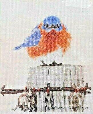 Vintage Bucilla Counted Cross Stitch Mad Blue Bird 2000
