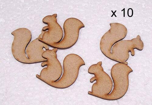 Pack of 10 MDF 30mm Squirel Blanks Pendent Fridge Magnets Embelishments #01