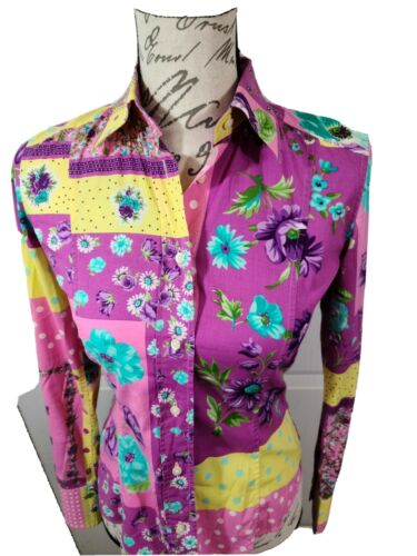 Etro Milano Fitted Pastel Floral Button Down Shirt