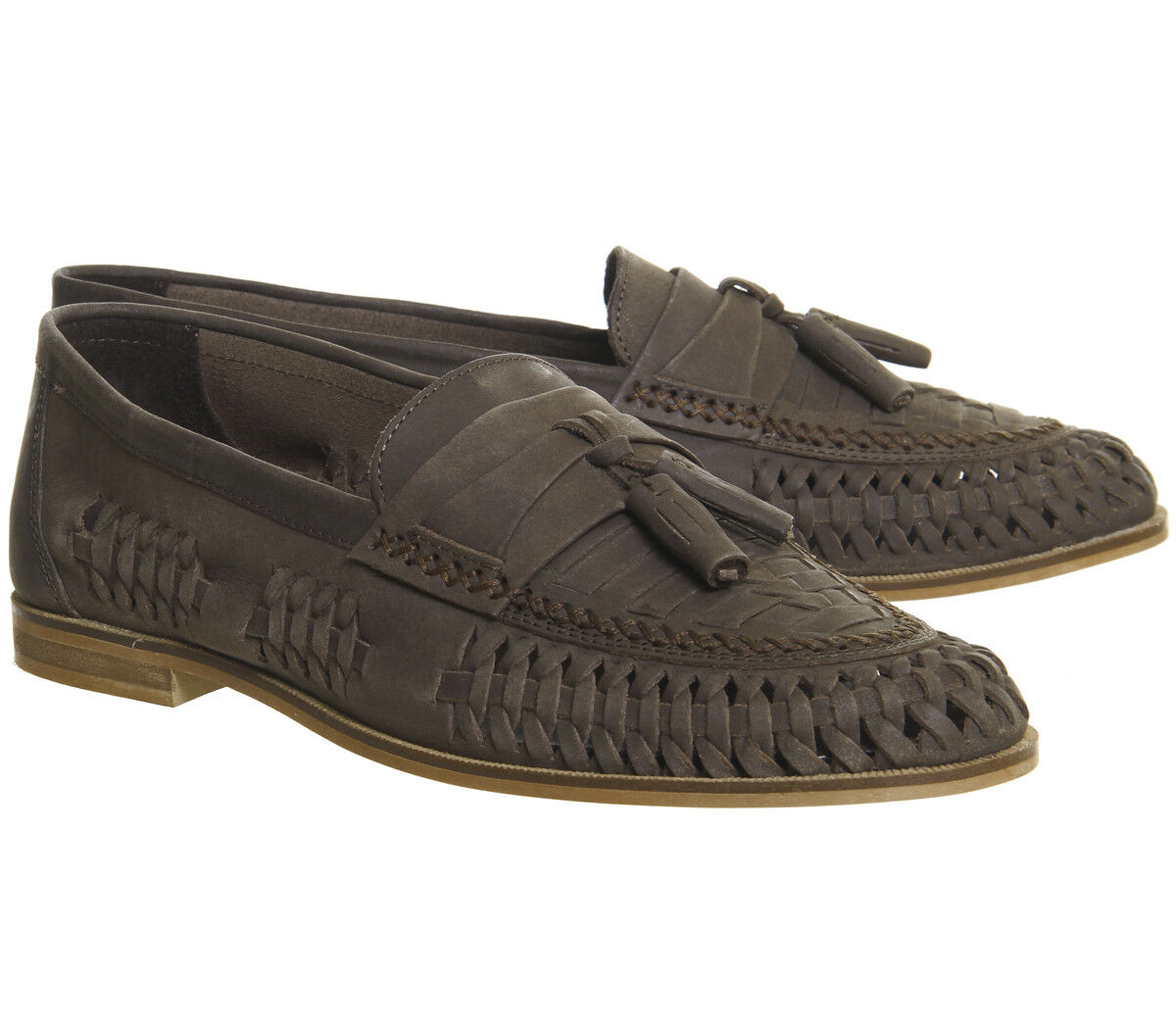 RRP-  Mens Leather Smart Formal Summer Office Slip On Loafers shoes Chocolate
