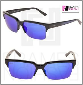 ad0cdc807cb Image is loading GUCCI-Square-GG3710S-Shiny-Black-Blue-Mirrored-Sunglasses-